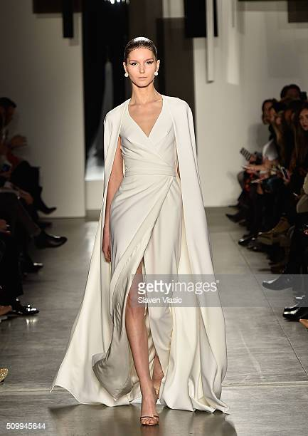 A model walks the runway at Pamella Roland fashion show during Fall 2016 New York Fashion Week at Pier 59 on February 12 2016 in New York City