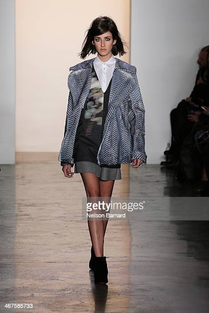 A model walks the runway at Peter Som during MADE Fashion Week Fall 2014 at Milk Studios on February 7 2014 in New York City