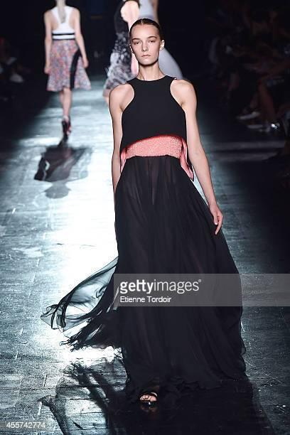 Model walks the runway at Prabal Gurung during Mercedes-Benz Fashion Week Spring 2015 at Skylight at Moynihan Station on September 6, 2014 in New...