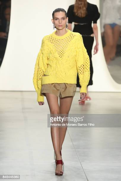 Model walks the runway at Prabal Gurung show during New York Fashion Week at Gallery 2, Skylight Clarkson Sq on September 10, 2017 in New York City.