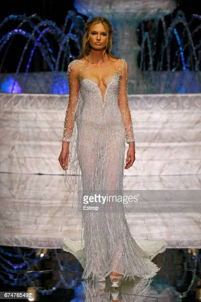 A model walks the runway at Pronovias Show during Barcelona Bridal Fashion Week 2017 on April 28 2017 in Barcelona Spain