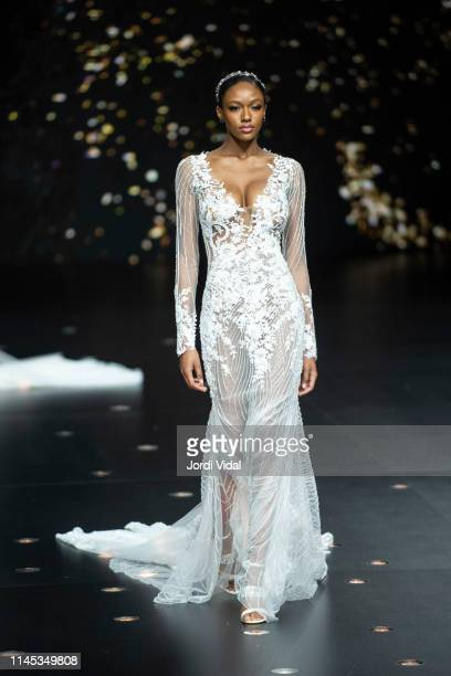 fd9feed635d A model walks the runway at Pronovias show during Valmont Barcelona Bridal  Fashion Week at Fira