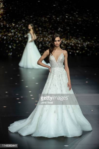 Model walks the runway at Pronovias show during Valmont Barcelona Bridal Fashion Week at Fira Barcelona Montjuic on April 26, 2019 in Barcelona,...