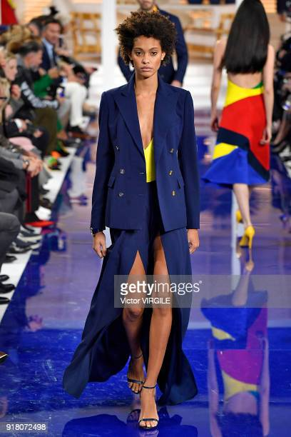 A model walks the runway at Ralph Lauren Ready to Wear Spring/Summer 2018 fashion show during the New York Fashion Week on February 12 2018 in New...