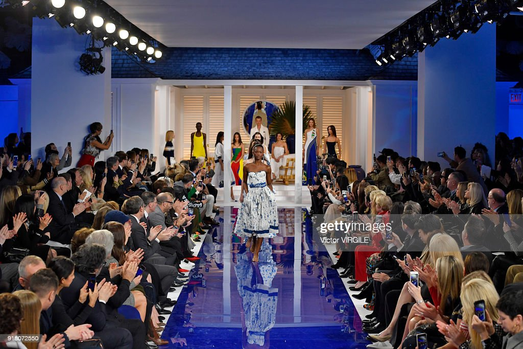 A model walks the runway at Ralph Lauren Ready to Wear Spring/Summer 2018 fashion show during the New York Fashion Week on February 12, 2018 in New York City.