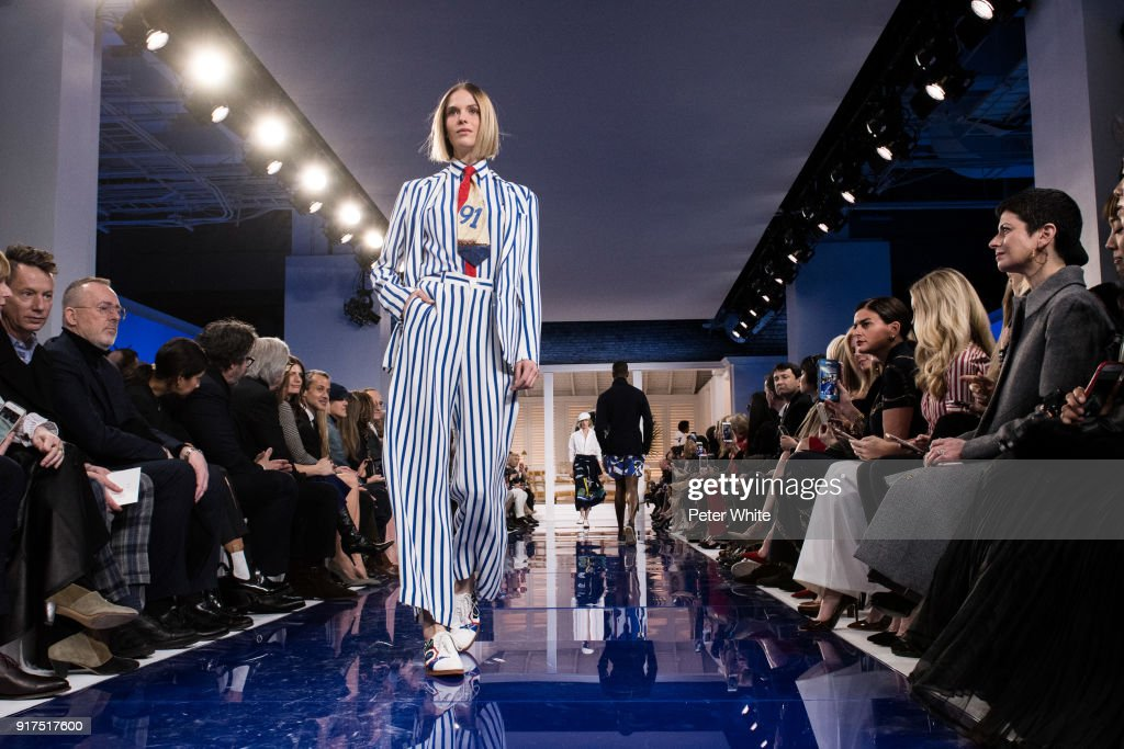 A model walks the runway at Ralph Lauren Spring/Summer 18 fashion show during the New York Fashion Week on February 12, 2018 in New York City.