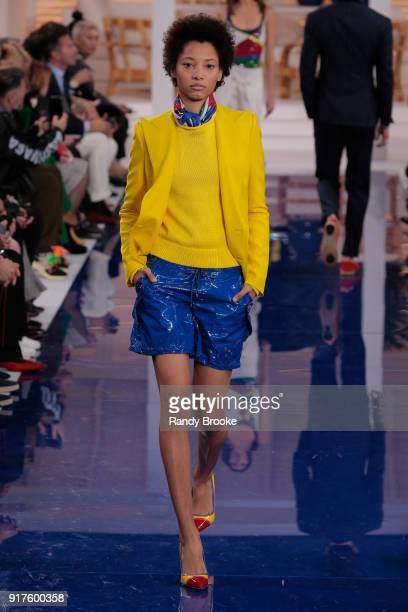 A model walks the runway at Ralph Lauren Spring/Summer 18 fashion show during the New York Fashion Week on February 12 2018 in New York City