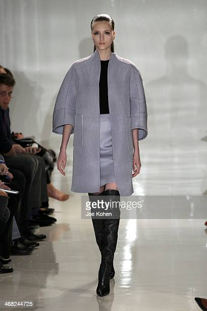 A model walks the runway at Ralph Rucci during Mercedes Benz Fashion Week Fall 2014 on February 9 2014 in New York City