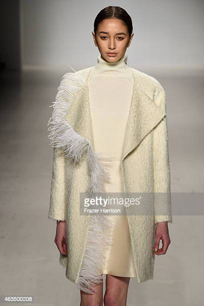A model walks the runway at RANFAN fashion show during MercedesBenz Fashion Week Fall/Winter 2015 at The Salon at Lincoln Center on February 15 2015...