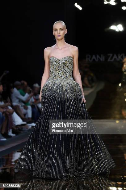 A model walks the runway at Rani Zakhem Fall/Winter 2017/18 fashion show during AltaRoma at Guido Reni District on July 7 2017 in Rome Italy