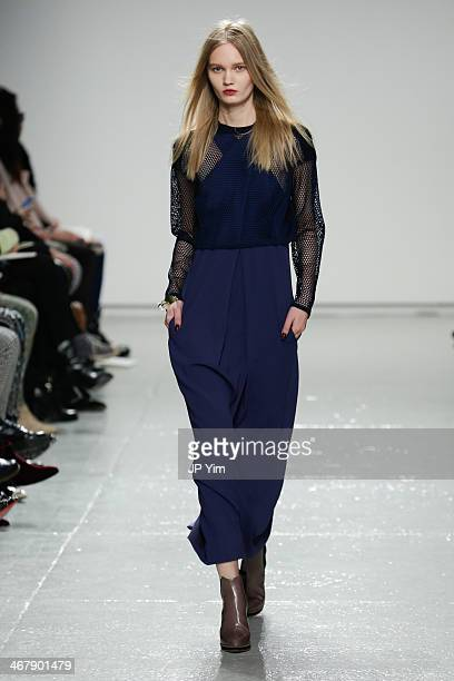 A model walks the runway at Rebecca Taylor Fall 2014 Collection during MercedesBenz Fashion Week Fall 2014 at Center 548 on February 8 2014 in New...