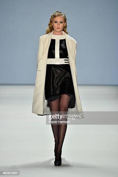 A model walks the runway at Rebekka Ruetz show during MercedesBenz Fashion Week Autumn/Winter 2014/15 at Brandenburg Gate on January 14 2014 in...