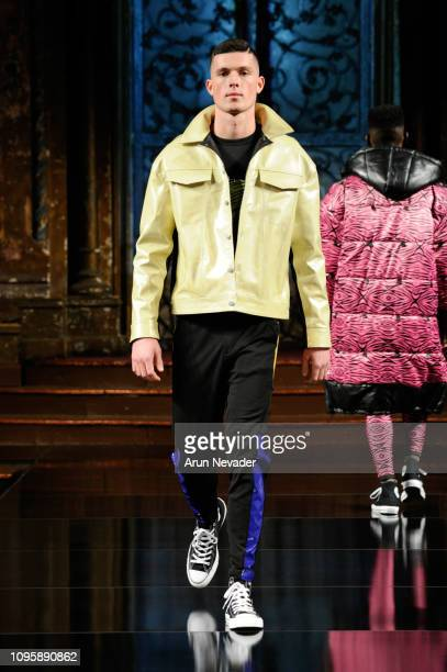 A model walks the runway at RICARDO SECO At New York Fashion Week Powered By Art Hearts Fashion NYFW at The Angel Orensanz Foundation on February 8...