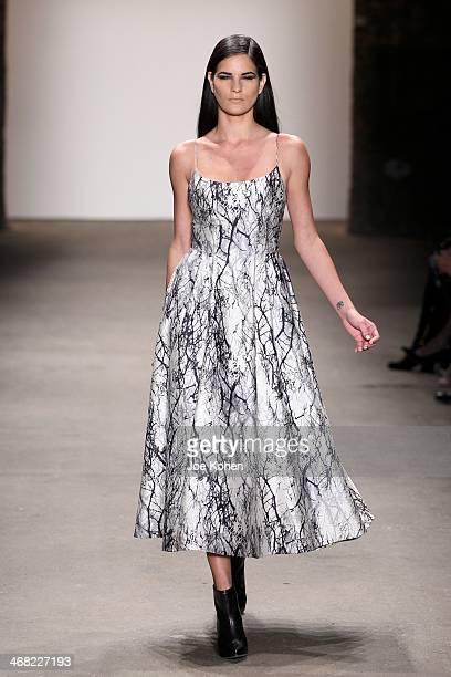 A model walks the runway at Rolando Santana during Mercedes Benz Fashion Week Fall 2014 at Eyebeam on February 9 2014 in New York City