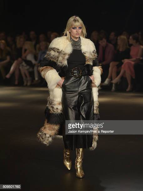 A model walks the runway at SAINT LAURENT At The Palladium in Hollywood on February 10 2016 in Los Angeles California