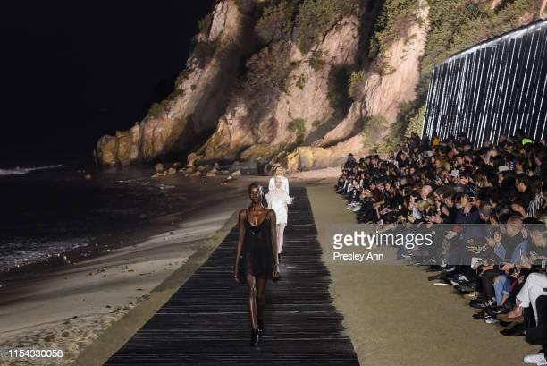 Model walks the runway at Saint Laurent mens spring summer 20 show on June 06 2019 in Malibu California