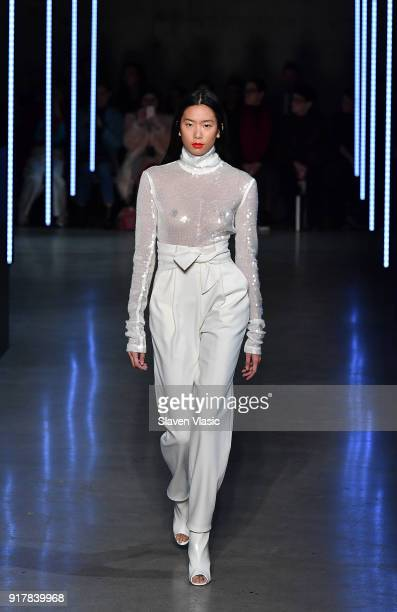 A model walks the runway at Sally LaPointe fashion show during February 2018 New York Fashion Week on February 13 2018 in New York City