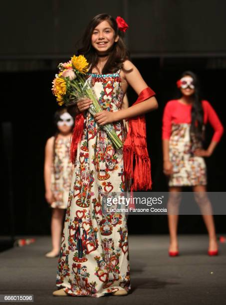 Model walks the runway at Santee High School Fashion Show at Los Angeles Trade Technical College on April 7 2017 in Los Angeles California