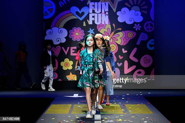 Model walks the runway at She-VER Fashion Show during Pitti Bimbo 84 on June 23, 2016 in Florence, Italy.