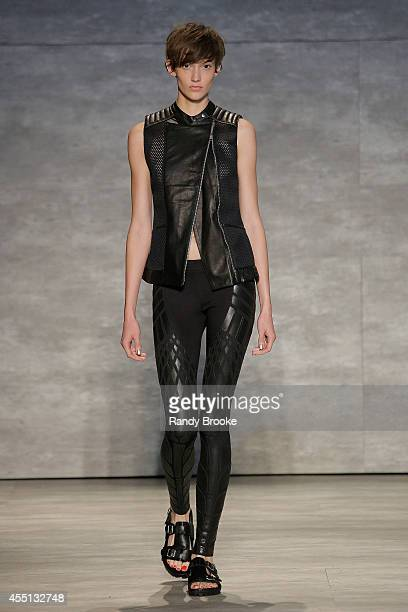 Model walks the runway at Skingraft during Mercedes-Benz Fashion Week Spring 2015 at The Pavilion at Lincoln Center on September 9, 2014 in New York...