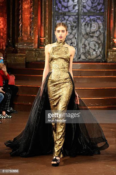 Model walks the runway at Stello Official - Art Hearts Fashion NYFW Fall/Winter 2016 at The Angel Orensanz Foundation on February 16, 2016 in New...