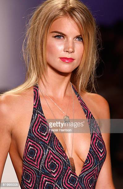 A model walks the runway at Syla by Sylvie Cachay 2009 collection fashion show during MercedesBenz Fashion Week Swim at the Raleigh Hotel on July 18...