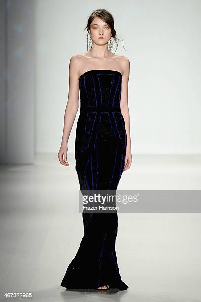 A model walks the runway at Tadashi Shoji fashion show during MercedesBenz Fashion Week Fall 2014 at The Salon at Lincoln Center on February 6 2014...