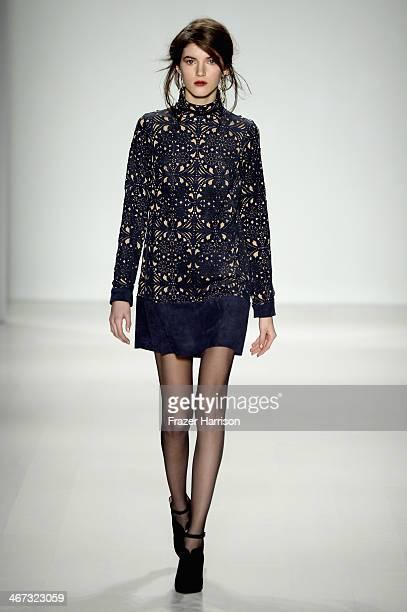 A model walks the runway at Tadashi Shoji fashion show during MercedesBenz Fashion Week Fall 2014 at The Salon at Lincoln Center on February 6 2014...