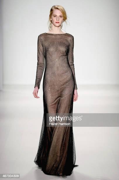 A model walks the runway at Tadashi Shoji fashion show during MercedesBenz Fashion Week Fall 2014 at Lincoln Center on February 6 2014 in New York...