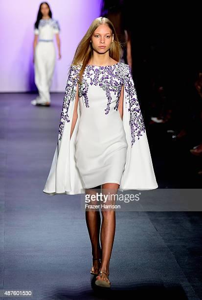 A model walks the runway at Tadashi Shoji fashion show during Spring 2016 New York Fashion Week The Shows at The Dock Skylight at Moynihan Station on...