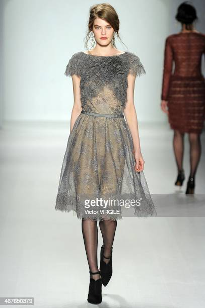 A model walks the runway at Tadashi Shoji Ready to Wear Fall/Winter 20142015 fashion show during MercedesBenz Fashion Week Fall 2014 at The Salon at...