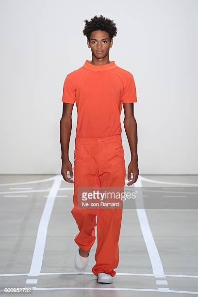 A model walks the runway at Telfar fashon show during New York Fashion Week The Shows at The Gallery Skylight at Clarkson Sq on September 8 2016 in...