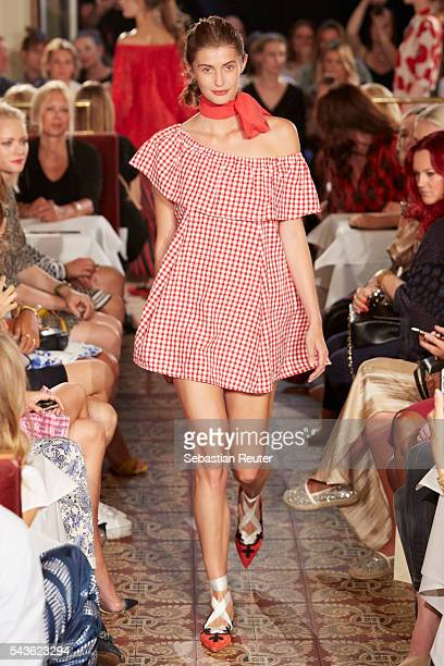 A model walks the runway at the 0039 Italy show during the MercedesBenz Fashion Week Berlin Spring/Summer 2017 at Borchardt on June 29 2016 in Berlin...