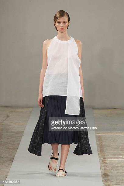A model walks the runway at the 1205 show during London Fashion Week Spring Summer 2015 at on September 13 2014 in London England