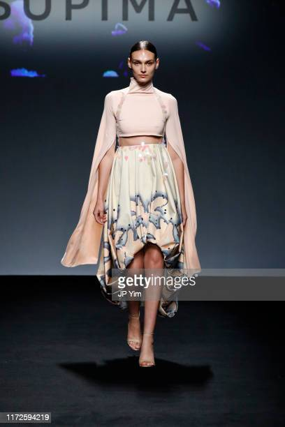 Model walks the runway at the 12th Annual Supima Design Competition at Pier 59 Studios during New York Fashion Week on September 05, 2019 in New York...