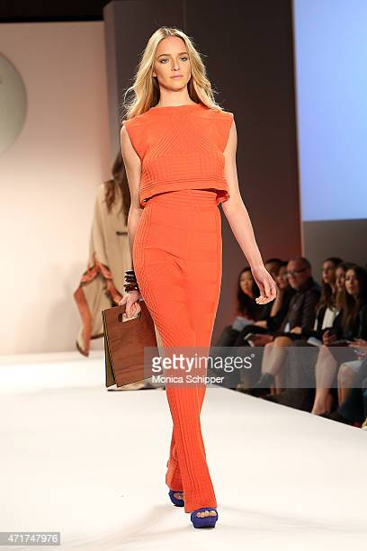 Model walks the runway at the 2015 FIT Future of Fashion Runway Show at The Fashion Institute of Technology on April 30, 2015 in New York City.