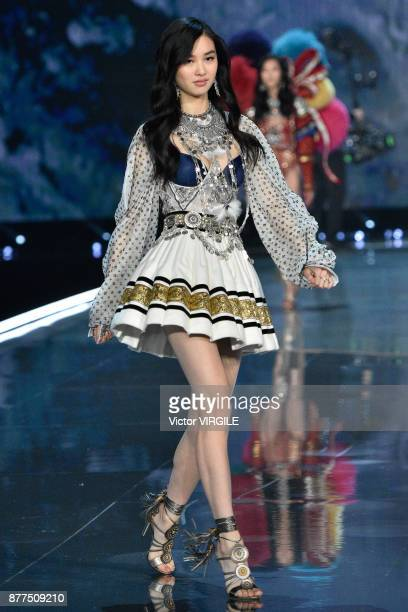A model walks the runway at the 2017 Victoria's Secret Fashion Show In Shanghai Show at MercedesBenz Arena on November 20 2017 in Shanghai China