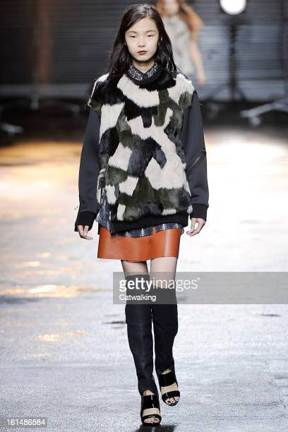 Model walks the runway at the 3.1 Philip Lim Autumn Winter 2013 fashion show during New York Fashion Week on February 11, 2013 in New York, United...