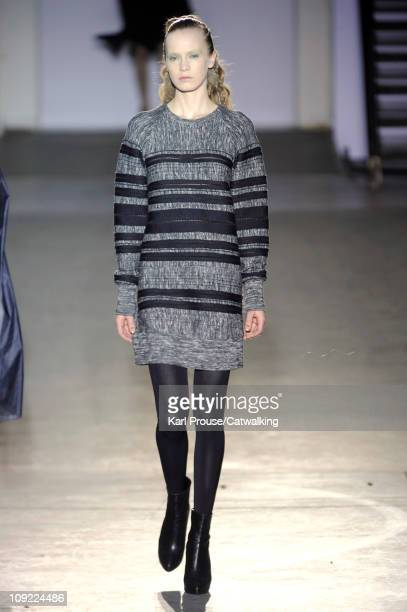 Model walks the runway at the 3.1 Philip Lim fashion show during New York Fashion Week on February 16, 2011 in New York, United States.