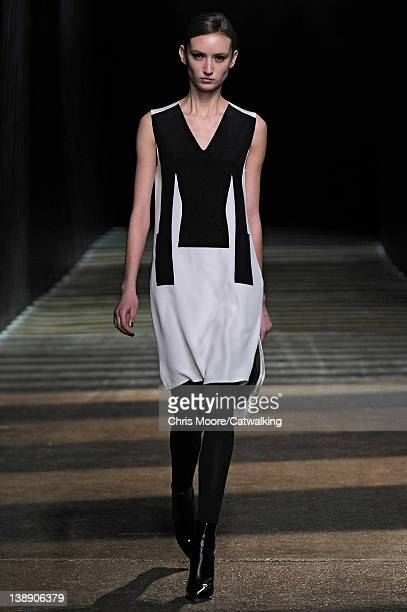 Model walks the runway at the 3.1 Phillip Lim Autumn Winter 2012 fashion show during New York Fashion Week on February 13, 2012 in New York, United...
