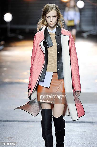 Model walks the runway at the 3.1 Phillip Lim Autumn Winter 2013 fashion show during New York Fashion Week on February 11, 2013 in New York, United...