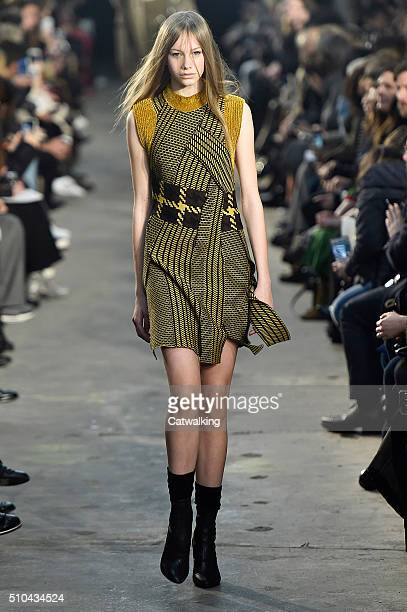 Model walks the runway at the 3.1 Phillip Lim Autumn Winter 2016 fashion show during New York Fashion Week on February 15, 2016 in New York, United...