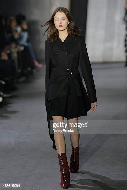 Model walks the runway at the 3.1 Phillip Lim Fashion Show during Mercedes-Benz Fashion Week Fall 2015 at Skylight Clarkson SQ. On February 16, 2015...