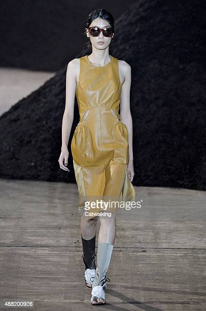 Model walks the runway at the 3.1 Phillip Lim Spring Summer 2016 fashion show during New York Fashion Week on September 14, 2015 in New York, United...