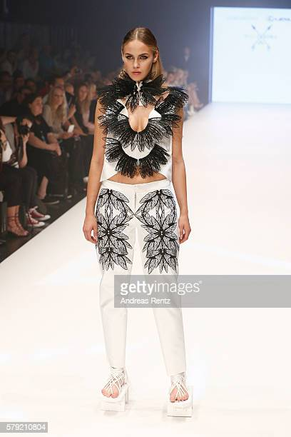 A model walks the runway at the 3D Fashion Presented By Lexus show during Platform Fashion July 2016 at Areal Boehler on July 23 2016 in Duesseldorf...