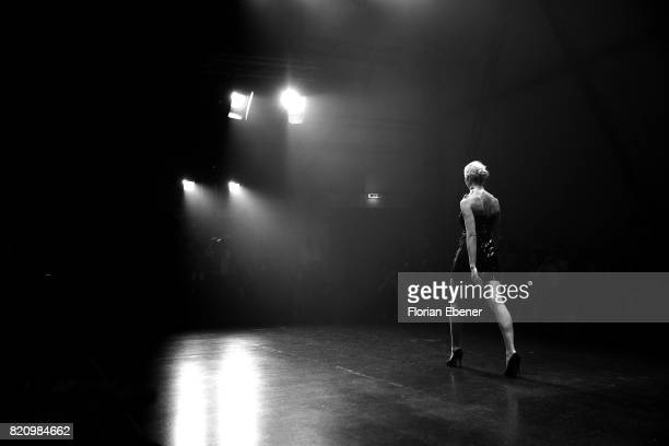 Model walks the runway at the 3D Fashion Presented By Lexus/Voxelworld show during Platform Fashion July 2017 at Areal Boehler on July 22, 2017 in...