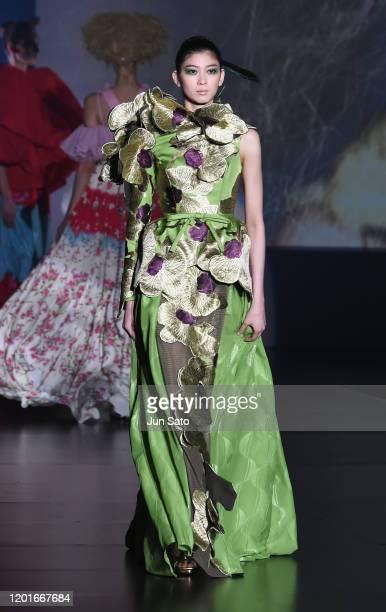 A model walks the runway at the 55th Yumi Katsura Grand Collection at The Okura Tokyo on February 18 2020 in Tokyo Japan
