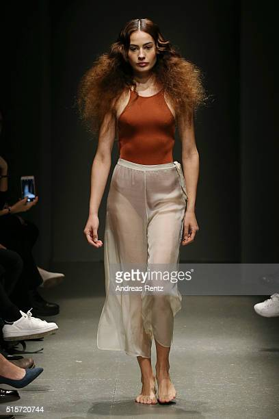 Model walks the runway at the 5th Position show during the Mercedes-Benz Fashion Week Istanbul Autumn/Winter 2016 at Zorlu Center on March 15, 2016...