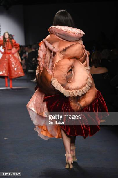 Model walks the runway at the 71st Annual Parsons Benefit honoring Pharrell, Everlane, StitchFix & The RealReal on May 20, 2019 in New York City.