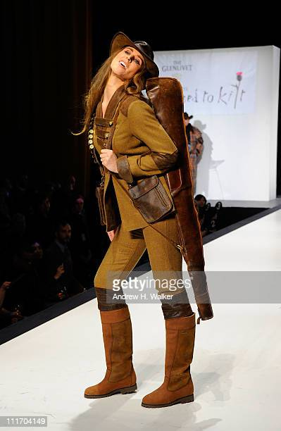 A model walks the runway at the 9th Annual Dressed To Kilt charity fashion show at Hammerstein Ballroom on April 5 2011 in New York City